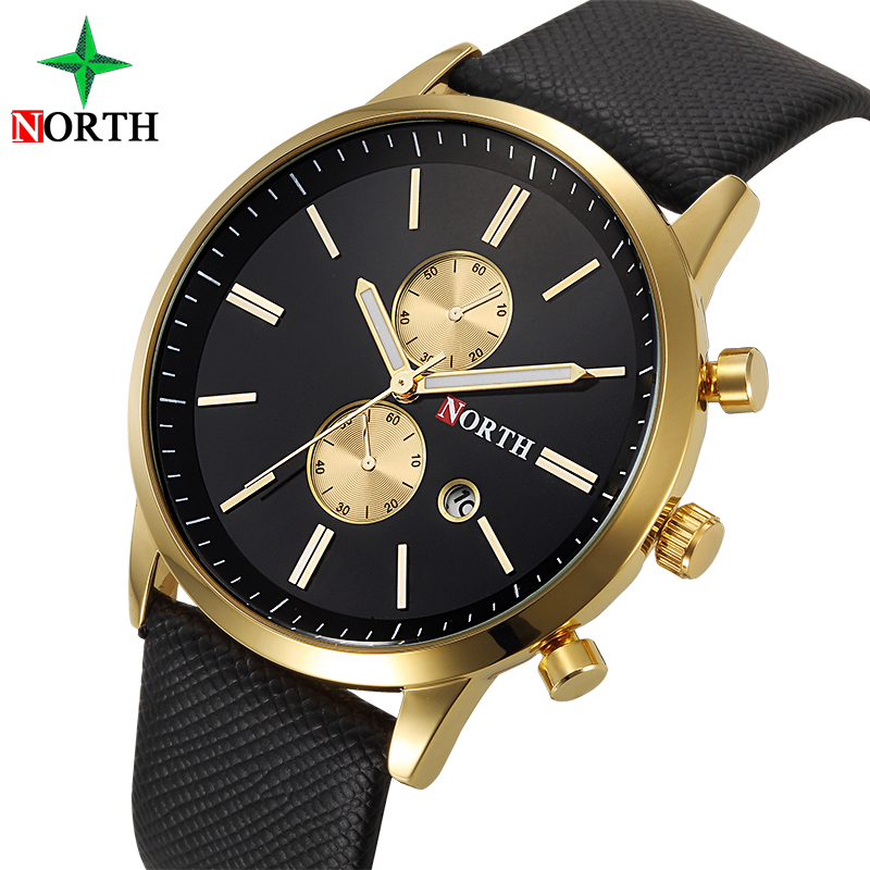 NORTH Business Leather Quartz Watch Male Clock 2017 Mens Watches Top Brand Luxury Men Watch sports quartz military wristwatch sinobi slim leather mens watches top brand luxury casual sports japan movt quartz watch men clock male wristwatch quartz watch