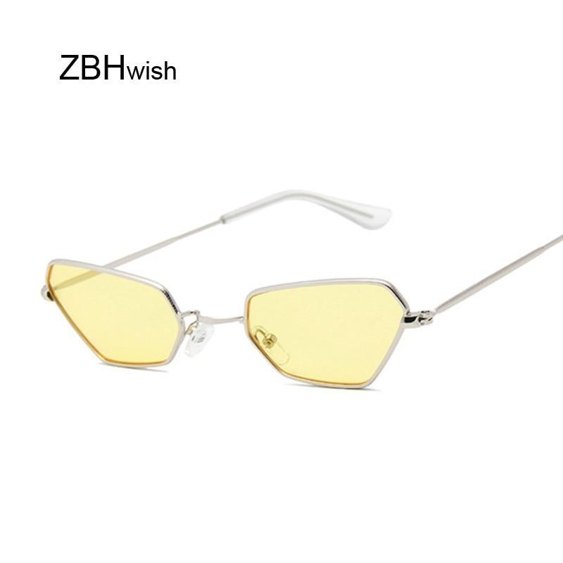Retro Small Cat Eye Sunglasses Women Vintage Brand Shades Yellow Metal Color Sun Glasses For Female Fashion Designer Lunette