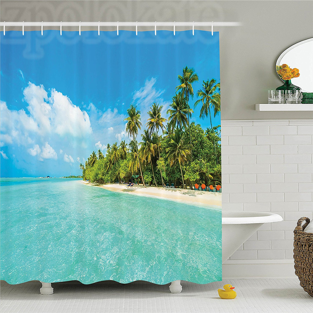 Ocean Tropical Island Photo with Sandy Beach and Palm Tree Nature Exotic Holiday Theme Polyester Bathroom Shower Curtain Set Tu