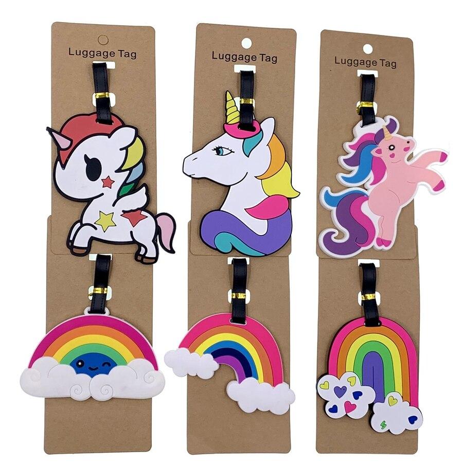 Travel Accessories Luggage Tags Animal Cartoon Unicorn Portable Label Silica Gel Suitcase ID Addres Holder Baggage Boarding