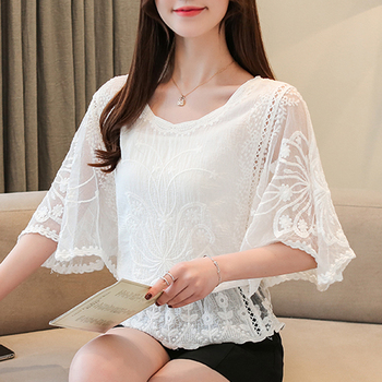 New Chiffon Blouse O-Neck 2019 Summer Full Cotton Edge Lace Blouses Shirt Butterfly Flower Half Sleeve Women Shirt Fashion 86F3 1