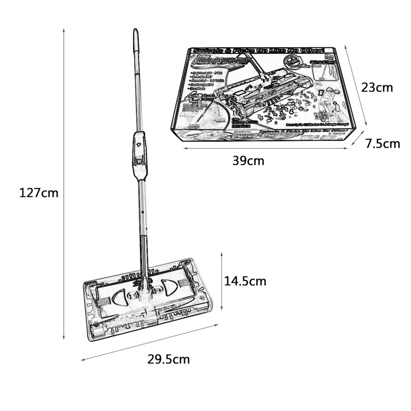 Stainless Steel Sweeping Machine Push Type Hand Push Magic Broom Dustpan Handle Household Cleaning Package Hand Push Sweeper