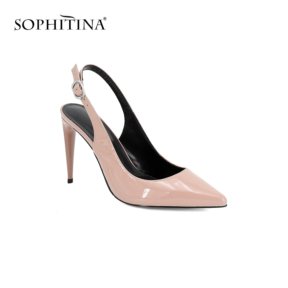 SOPHITINA High Quality Genuine Leather Sandals Fashion Buckle Strap Super High Thin Heels Shoes Hot Sale