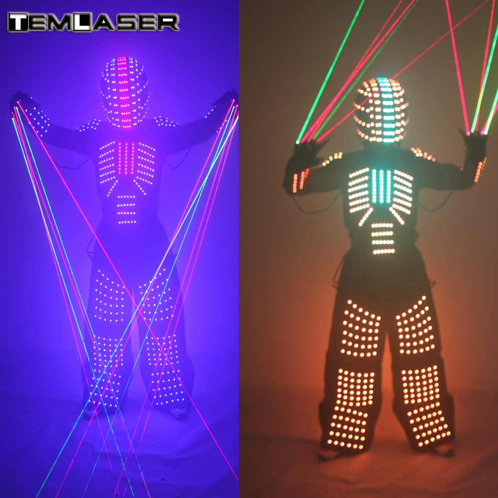 LED Robot Suit, LED Performance Stage Costume, With LED Helmet Laser Gloves. For Music Festivals, Party Performances