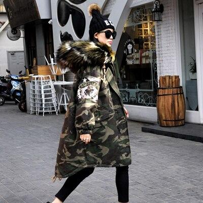 Kadın Giyim'ten Parkalar'de Yeni 2019 Kış Ceket Kadın Mont Sahte Rakun Kürk Yaka Kadın Parka Ordu Yeşil Kalın Pamuk Yastıklı Astar Bayanlar 0829  238'da  Grup 1
