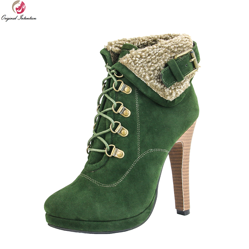 Original Intention Popular Women Ankle Boots Nice Round Toe Thin High Heels Boots Elegant Green Shoes Woman Plus US Size 4-15 original intention elegant women ankle boots platform round toe thin heels boots black white red shoes woman plus us size 3 16