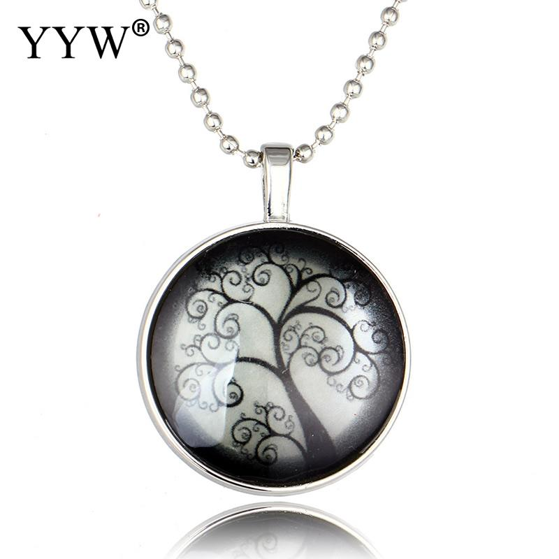 YYW Lucky Glowing Tree Of life Pendant Necklace Women Fashion Glass Ball Sweater Chain Necklace Jewelry Gift Free Shipping