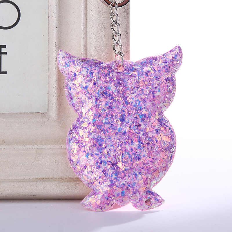 Corazón unicornio sirena mariposa gato estrella cerdo llavero lentejuelas llavero colgantes para mujeres bolsos coche llavero Accesorios