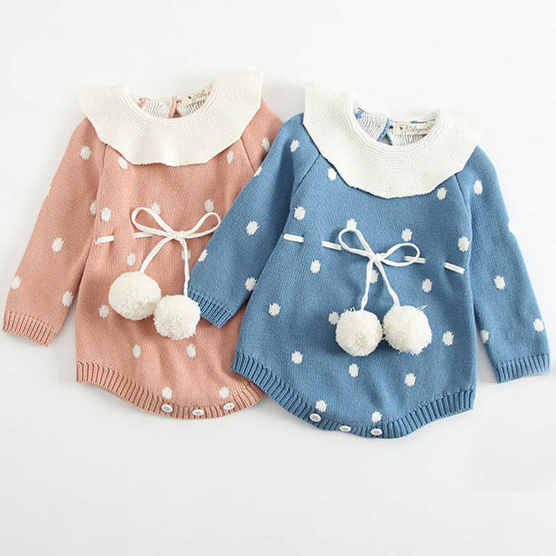 a70f652d0368 Baby Knitted Clothes Newborn Baby Girls Romper Long Sleeve Infant Jumpsuit  For Girls Boys Overalls Clothes