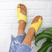 Puimentiua/женские тапочки; повседневные мягкие босоножки на плоской подошве с большим носком; женская обувь; удобная ортопедическая обувь на платформе; корректор