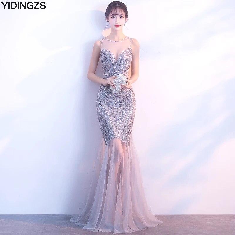 YIDINGZS Paillettes Perles Robes De Soirée Sirène Longue Formelle Prom Party Robe 2018 Nouveau Style