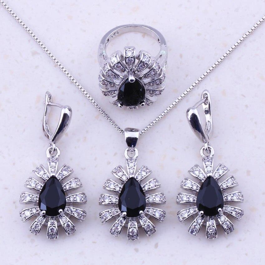 Plata esterlina 925 Muy Oscuro Púrpura CZ Cristal Corazón Collar y pendiente conjunto