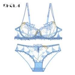 2019 Мода Вышивка Белье Набор Кружева Синий Прозрачный Комплект Белья Женщин Сексуальный Прозрачный Бюстгальтер Розовый