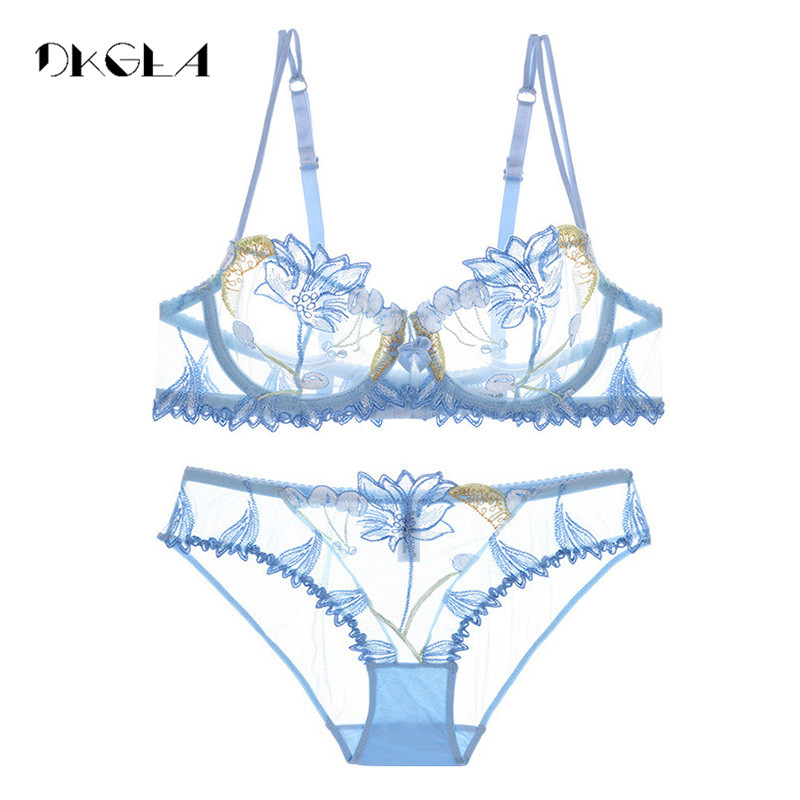 2019 Fashion Flowers Embroidery Lingerie Set Lace Blue Transparent Underwear Set Women Sexy Hollow Out See Through Bra Pink