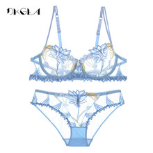 Conjunto de lencería de encaje con bordado de flores para mujer, ropa interior transparente azul, sujetador con transparencias, rosa, 2020