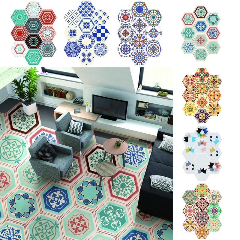 1Set/10PCs PVC Waterproof Stickers Self Adhesive Tile Art Floor Wall Decal Sticker DIY Kitchen Bathroom Decor Vinyl diy vinyl hands pattern home decor wall art stickers