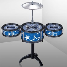Kids Simulation Musical Instrument Toy 3 Drums Jazz Drum Kit with Drumsticks Musical Shelf Educational Learning Toy for Children