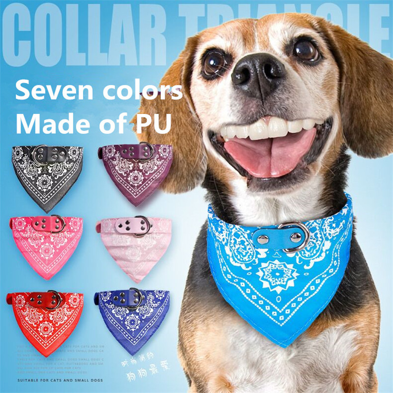 New Pet Dog Scarf PU collar Cute Puppy Cat Triangular Bandage Neckerchief Necklace Accessories for Small dogs