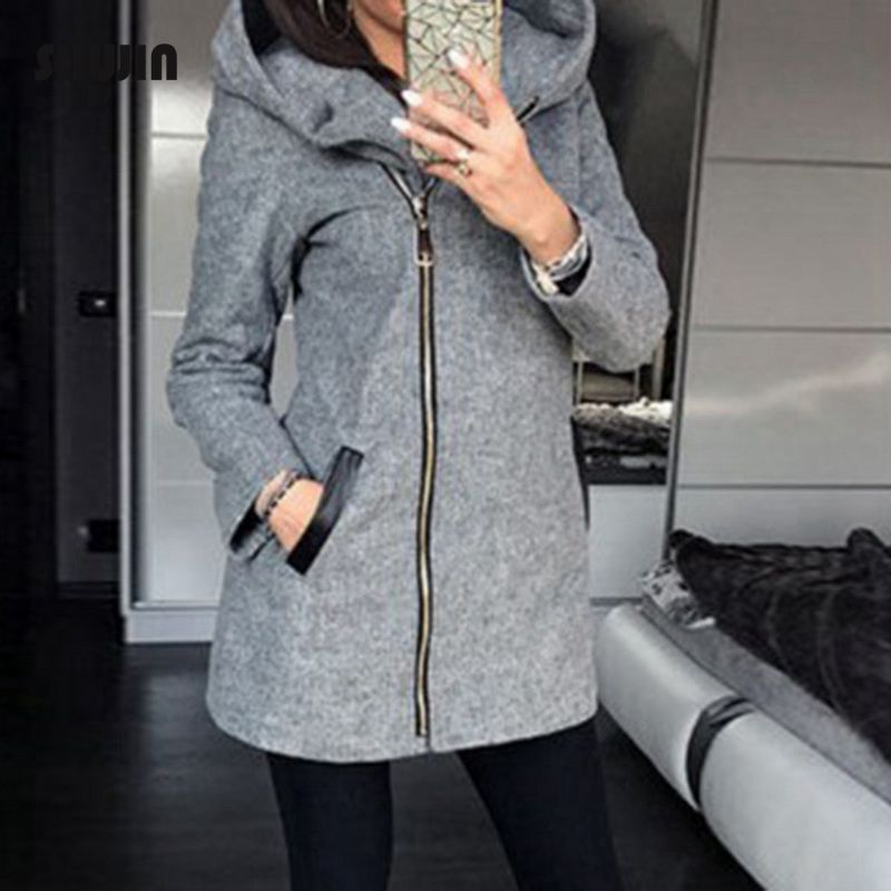 SHUJIN Autumn Winter   Basic     Jacket   Women Casual Long Zipper Pockets Hooded Coat Hoodies Sweatshirt Female Vintage Outwear 2018