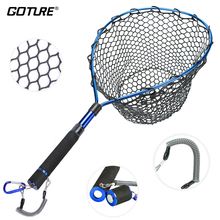 Goture Fishing Landing Net with Magnetic Clip Lanyard Aluminum Alloy Frame Soft Rubber Mesh EVA Handle Blue/Red/Purple