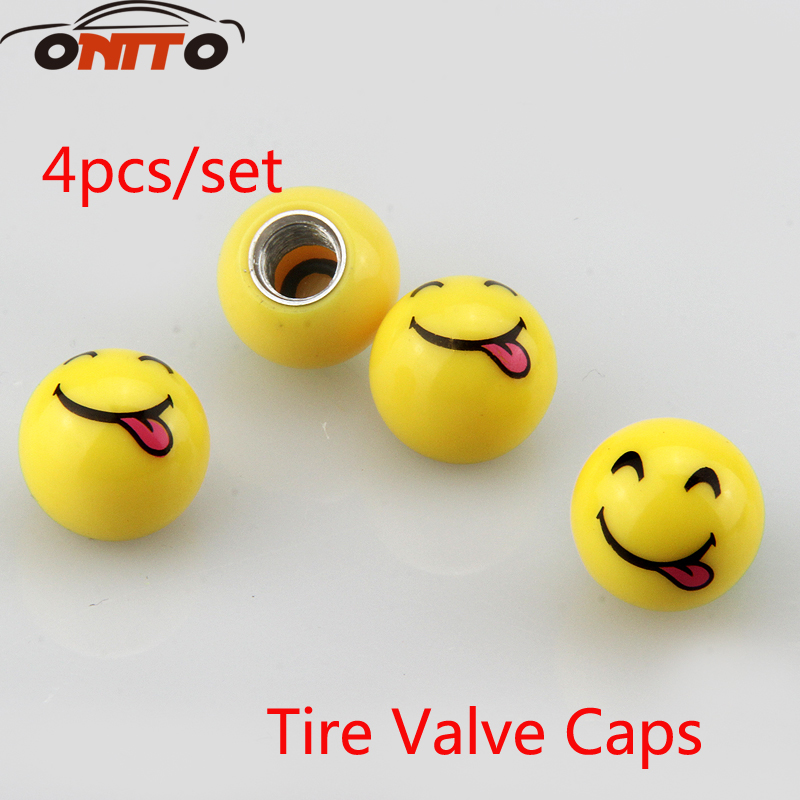 4pcs/set Tire Valve Cap Car Wheel Styling Round face expression Spit tongue Universal Car Tyre Air Valve Caps