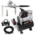 OPHIR 0.3mm Dual-Action Airbrush Kit with Single Cylinder Piston Compressor Air Tank for Hobby Crafts Paint Beginner_AC116+AC004