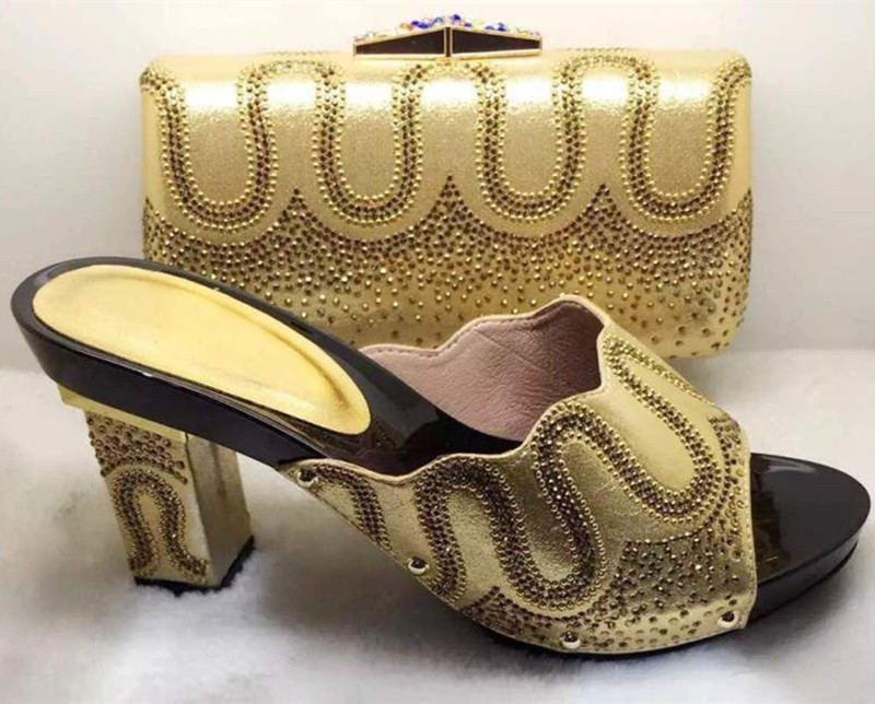 Italian Matching Shoe And Bags Set With Rhinestones High Quality African Wedding Shoes And Bag TH11
