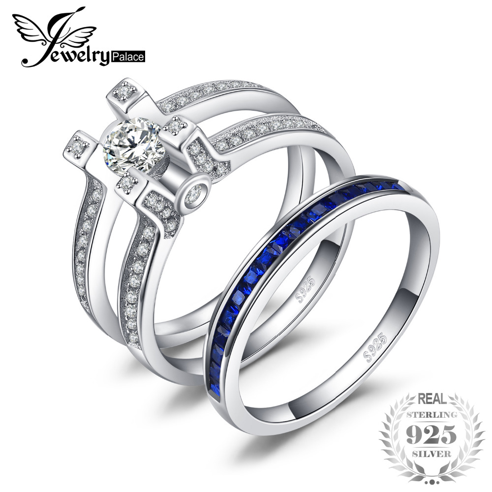 JewelryPalace Art Deco 1.5ct Square Shape Created Sapphire Cubic Zirconia Halo Engagement Ring Sets 925 Sterling Silver Hot GiftJewelryPalace Art Deco 1.5ct Square Shape Created Sapphire Cubic Zirconia Halo Engagement Ring Sets 925 Sterling Silver Hot Gift