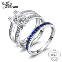 JewelryPalace Art Deco 1.5ct Square Shape Created Sapphire Cubic Zirconia Halo Engagement Ring Sets 925 Sterling Silver Hot Gift