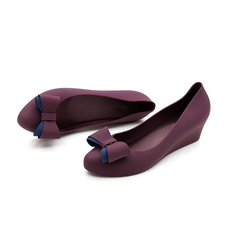 9a38bfeed65 EOEODOIT 2018 Autumn Wedges Pumps Women Rain Shoes Med Heel Height  Increasing Jelly Shoes With Bow Slip On Daily Beach Shoes-in Women s Pumps  from Shoes on ...