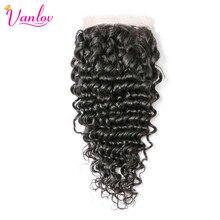 Vanlov Deep Wave Closure Non Remy Human Hair Bundles 4×4 Free Part Lace Closure 100% Human Hair Weaving Free Shipping
