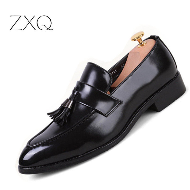 Fashion Tassel Men Shoes Leather Moccasins Mens Loafers Casual Pointed Toe Shoes Men Flats Brand Luxury Black Red 2017 new flats men shoes zip round toe leather men loafers shoes fashion brand outdoor shoes casual sapatos masculino