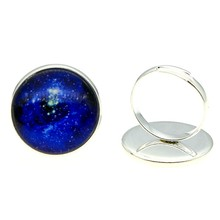 Handmade Rings 20mm Round Universe Galaxy Nebula Glass Cabochon Jewelry Dropshipping Gift For Girl