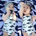 0-18 M bebê Recém-nascido Da Criança Infantil Do Bebê Meninas Menino Bodysuit Sem Mangas Backless Tubarão Corpo Roupas Roupa Bebes