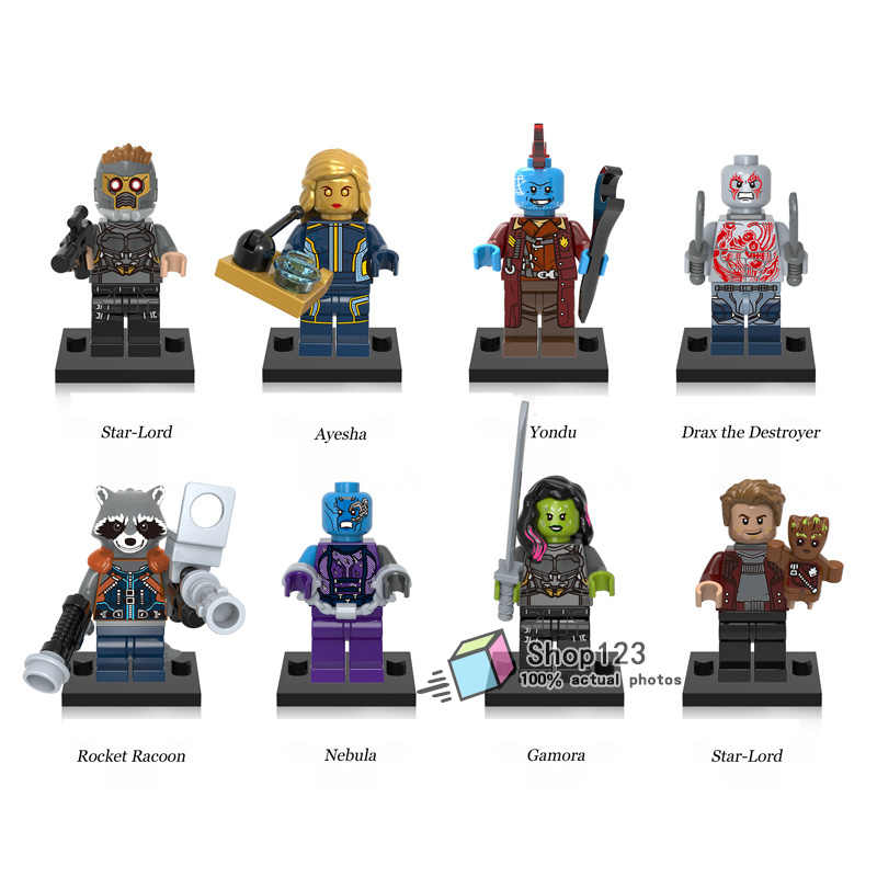 Marvel Super Hero Guardians of the Galaxy Star-Lord Nebula Gamora Rocket Racoon Bricks Building Blocks Toys for Children  X0159