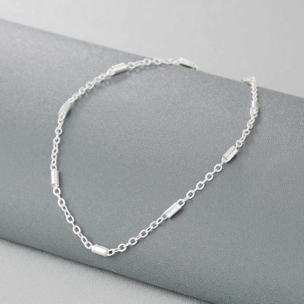 Moda Cylinder okrągły pasek obrączki dla kobiet gorąca sprzedaż różowe złoto łańcuch ze stopu kostki bransoletka biżuteria dziewczyny stóp prezent