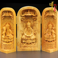 Exquisite wood carvings india style Trinity Western Goddess Buddha Ornament cedar Carving Guanyin statue vintage home decor