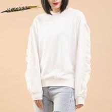 VITYAKE 2017 Printemps Solide Couleur Ras Du Cou Sweat Coton Pull Lotus Feuille Manches Hoodies Femme Sweat(China (Mainland))