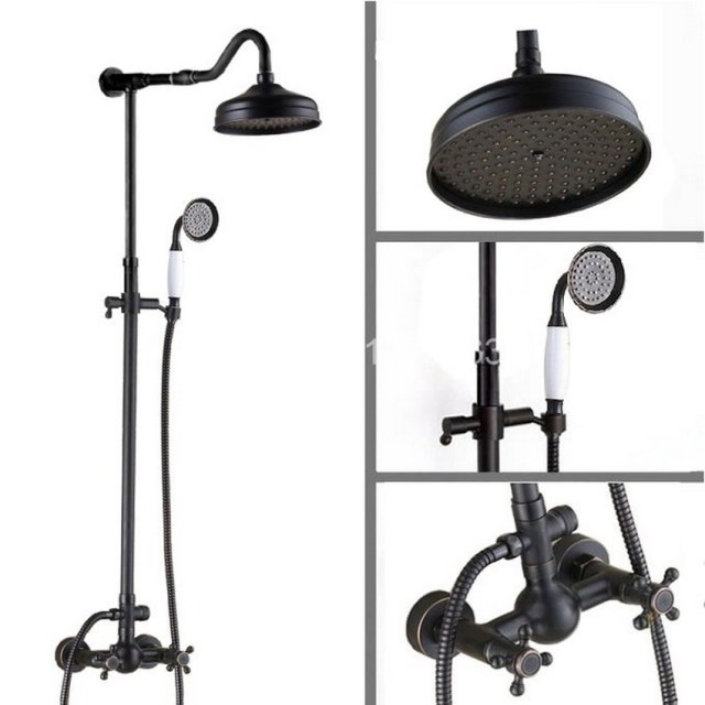Bathroom Black Oil Rubbed Bronze Wall Mount Rain Shower System Rain Shower  Head + Handheld Shower