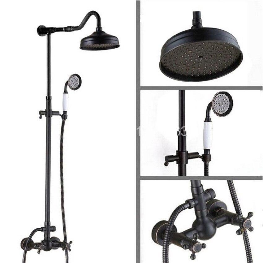 Bathroom Black Oil Rubbed Bronze Wall Mount Rain Shower System Rain Shower Head + Handheld Shower Head Set with 1.5m Hose ars703