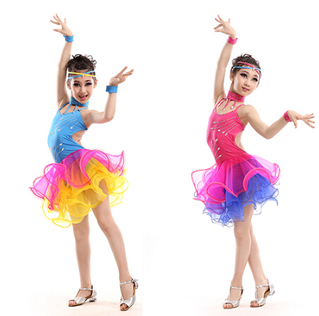 3 colors yellow blue pink New girl child costume  rumba latin cha-cha dance dress tango sambaprofessiona 110-160cm performance