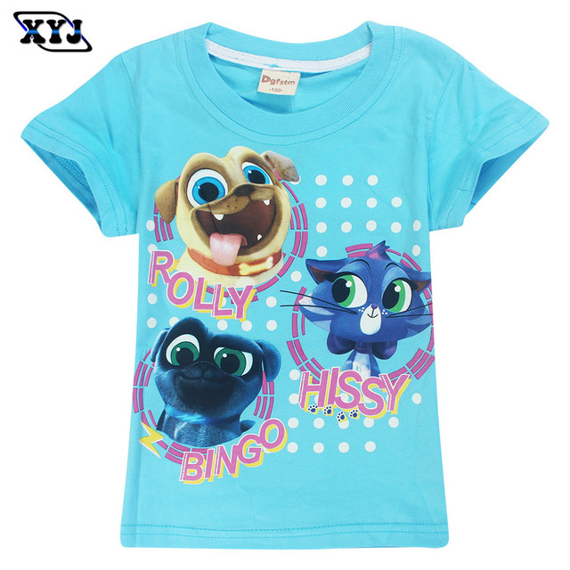 fd7c9993d3b0 2018 Summer Puppy Dog Pals T-shirt For Girls Animal Printed Cotton Tee Tops  Kids Game Shirts For Girls Baby Boys Clothing Tops