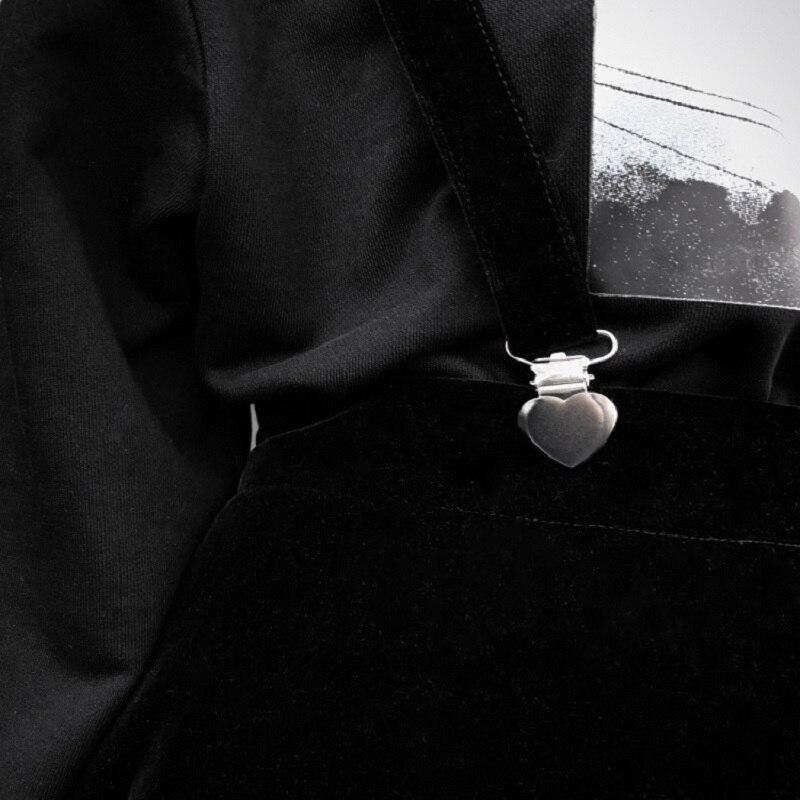 Women's Skirt Harajuku Velvet Punk Love Clip Strap Skirt For Female Ladies Mini Skirts Black #5