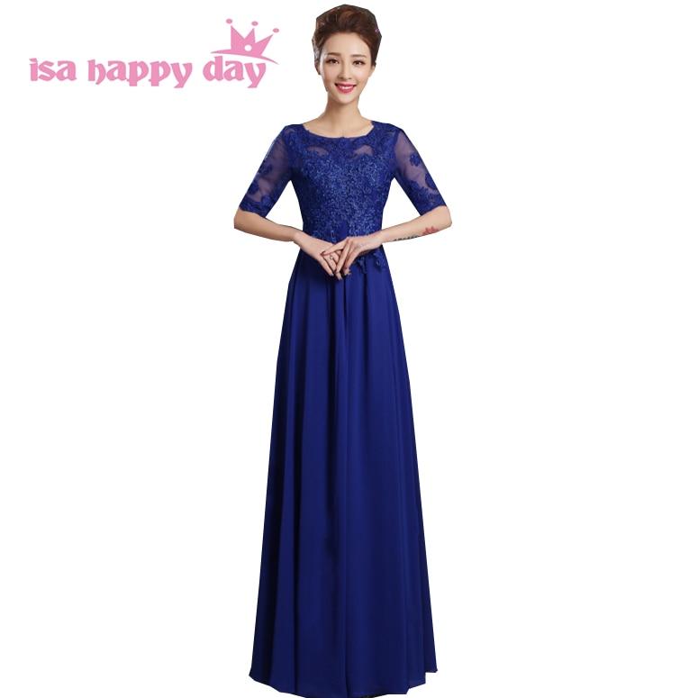 royal blue modest formal elegent evening dress long lace chiffon ...
