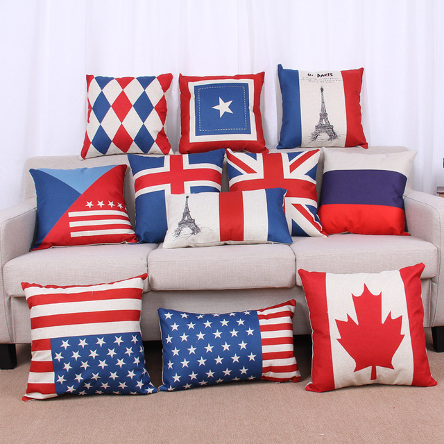 8f7c90886d80 National Flag Pillow Case Cotton Linen Cushion Cover British Style USA UK Flags  Decorative Car Sofa