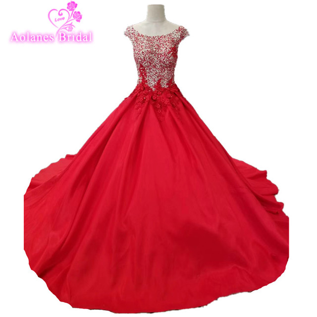 AOLANES Long Puffy Prom Dresses 2018 Elegant Ball Gown Sparkly Beaded  Backless Lace UP Girl Red Tulle Prom Dress For Party 28a9b1ea24ab
