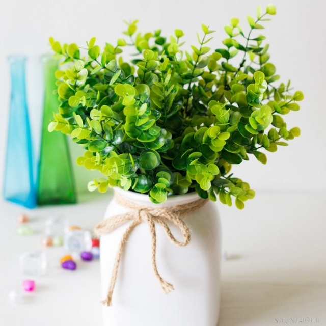 Artificial Plants For Living Room Makeovers 1 Pcs 7 Fork Green Grass Penny Plastic Flowers Decorate The