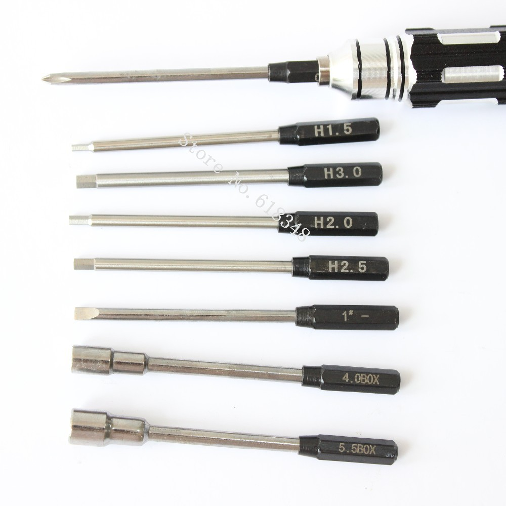 One Set Metal 8 in 1 Hex Screwdriver Tool Kit For RC Cars Helicopter Plane Pocket H1.5 H2.0 H2.5 H3 (3)