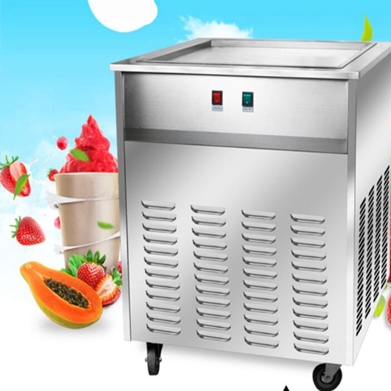 single square pan fried ice cream roll machine, chunlan brand compressor Fried ice pan machine,R22 ice pan ice cream machine 2017 single pan fried ice cream roll machine economical model square pan fried ice machine fry yoghourt machine
