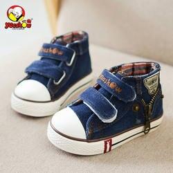 Весенняя детская парусиновая обувь для мальчиков модные кроссовки Дети Повседневное обувь на молнии джинсы для девочек джинсовые сапоги